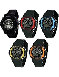 Swadesi Stuff Combo Of 5 Digital Black Red Orange Yellow Blue Dial Watch for Boys and Girls