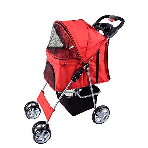 Panana Hundewagen Haustier Pet Stroller Buggy Roadster 4-Rad-Buggy für Hunde und Katzen 75 x 45 x 97 cm einfach zu faletn - Rot.