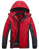 Wantdo Chaqueta de Esquí Impermeable al Aire Libre para Hombres Excursión con Forro Rojo X-Large