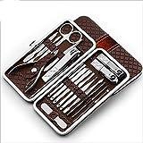 CDFD 18-teiliges Maniküre-Set-Set Pediküre-Pinzetten-Pinzette Nagelknipser-Set Edelstahl-Nagelpflegesets