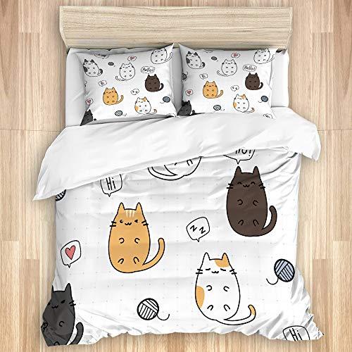 VAMIX Juego de cama Funda nórdica Lindo gatito adorable gato gordo kawaii que se establecen rejilla...