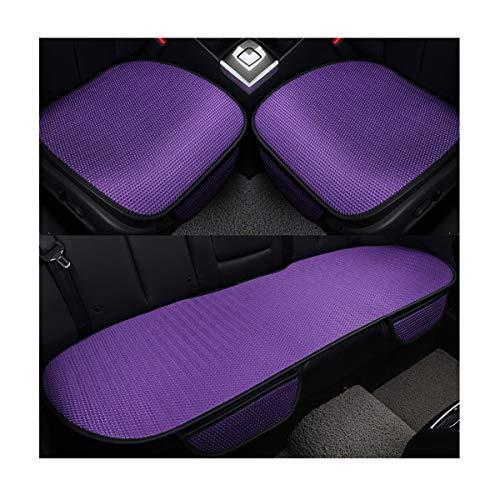 HotYou Auto-Sitzkissen, Sommer-Auto-Sitz-Kissen-einzelne Auflage-EIS-Seide-Quadrat-Auflage Backless Universal Anti-Rutsch-freies, das Sitz-Kissen bindet, Lila, Vordersitz & Rücksitz Set * 3 Pics