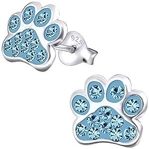 JAYARE Kinder Ohrstecker Hunde Pfoten 925 Sterling Silber Mädchen Ohrringe