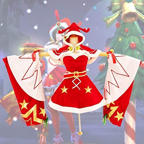 CN Cosplay Kostüm Damen Weihnachten Kleidung Weihnachten Liebeslieder Weihnachten Frauen Täglich Anime,rot,XXL