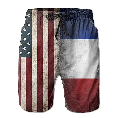 USA French Flag Summer Casual Quick-Dry Cargo Shorts Swim Trunks Drawstring Striped Side Pockets X-Large -