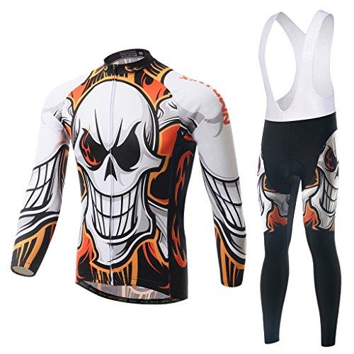 Skysper Radkleidung Herren Fahrradbekleidung Trikot Langarm Jersey + Lange Radlerhose