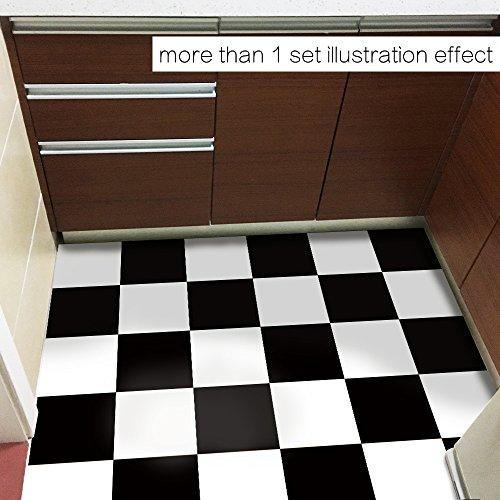 Badezimmer Küche Bad Wohnzimmer Wohnkultur Holz Bord Pfosten Schwarz-Weiß-Gitter Grüne Pvc Boden Aufkleber