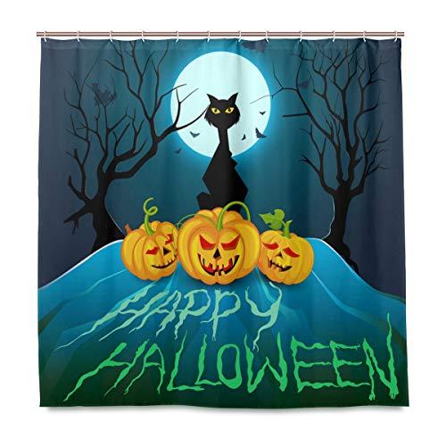 (Wamika Badezimmer Dusche Vorhang Halloween Kürbis Cat Design langlebigem Stoff Bad Vorhänge Schimmelresistent Wasserdicht Badezimmer 12Haken 183,0cm x183,0cm)