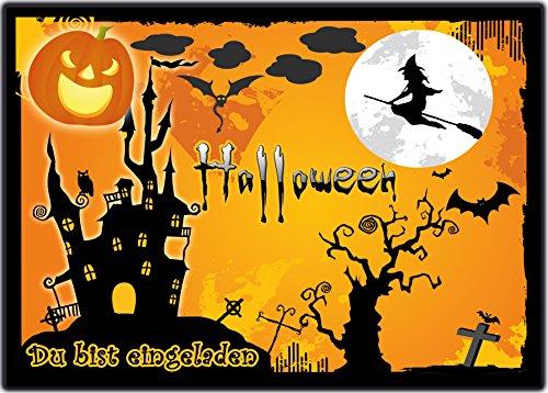 Grusel Einladungskarten zu Halloween 12-er Set gruselige Halloweenparty Einladungen Kindergeburtstag zum Geburtstag, Party, Kinder Feier Erwachsene Geburtstag grusel gruselig Sarg