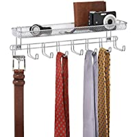 mDesign barre de crochets – portemanteau mural avec 8 crochets pour bijoux, idéal comme porte-cravates ou porte-ceintures – panier de rangement pour porte-monnaie, les clefs, etc. – chromé