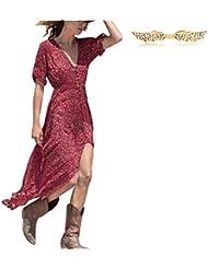 BYD Mujeres Vestidos Maxi Impresión Floral V Neck Elástico Bohemio Vestido de la Playa con Aberturas