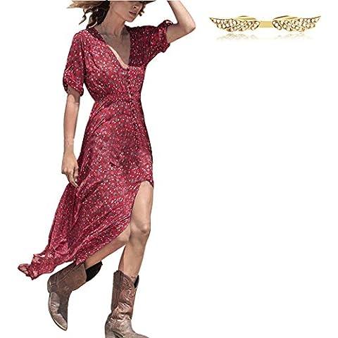 BYD Mujeres Vestidos Maxi Impresión Floral V Neck Elástico Bohemio Vestido de la Playa con