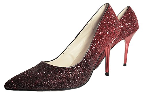 HooH Femmes Escarpins Pointu Paillettes Gradient Talon haut 9.5 CM mariage Escarpins Slip On Wine Rouge