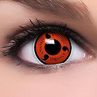 """FUNZERA[Sharingan] Lentillas de Colores""""Naruto"""" + 10 ml solución + recipiente para lentes de contacto, sin dioptrías pack de 2 unidades - cómodas y perfectas para Halloween, Cosplay sin corregir"""