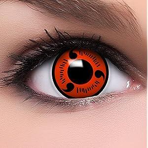 Linsenfinder Sharingan Kontaktlinsen mit Stärke 'Naruto' +Behälter +Kombilösung Farbige Kontaktlinsen perfekt zu deinem Anime Cosplay Kostüm
