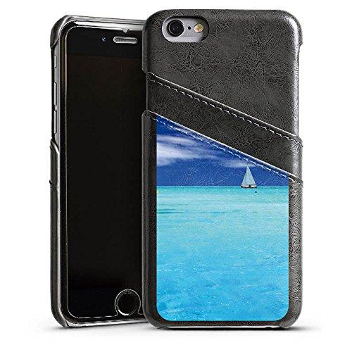 Apple iPhone 5s Housse Étui Protection Coque Caraïbes Mer Bateau à voile Étui en cuir gris