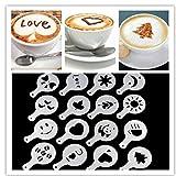 16pcs / Set Cucina Macchina Stencil Mold Decor caffè del Cappuccino Barista Stencil Template cospargere Pad Duster caffè spruzzo Strumenti