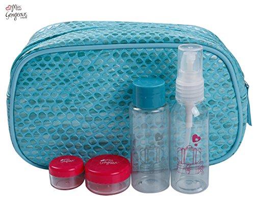 Miss Gorgeous Sac à main Sacs Bleu avec 4 vide bouteille Crème Visage Bouteille Vaporisateur Bouteille