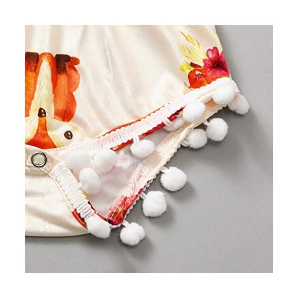 HEETEY Pijama para niña, Infante, bebé, niña, niño, Pajarita, Dibujos de presión, borlas, bóxer, Traje de Juego, sin… 5
