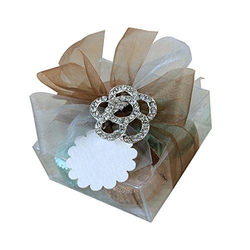 Mopec AB123-Bastoncino Garnet in metallo a forma di fiore, strass con cioccolatini 4, confezione da 16 pezzi