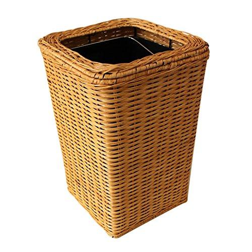 AILI Gras-Rattan gesponnener brauner tragbarer Abfalleimer, Haushaltsabfalleimer, Badezimmer, Wohnzimmer (Größe : 12l-1)