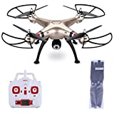 Syma X8HW 2.4GHz 4CH 0.3MP WIFI FPV Camera RC Headless Quadcopter Helicopter 4 Channel 6 Axis Gyro System Radio Wireless Remote Control WIFI FPV Flip Fly UFO 3D Rotation 360 Degree Eversion LED One Key Drone Christmas Gift Toys - Gold