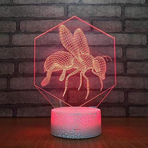3D Illusion Lampe Led Nachtlicht Biene Visualisierung Amazing Optische Täuschung Touch Control Light 7 Farben Ändern Schreibtischlampen Für Kinderzimmer Decoration