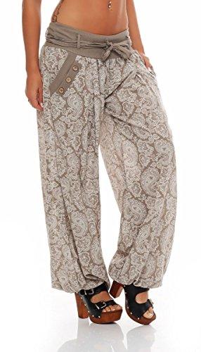 malito Damen Pumphose mit Orient Print | leichte Stoffhose | Freizeithose für den Strand | Haremshose