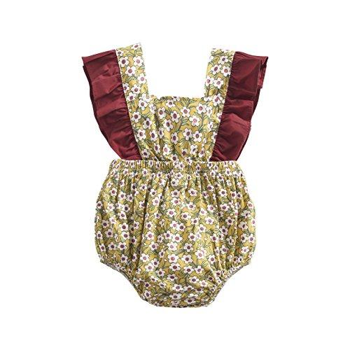 Sanlutoz Neugeborenes Baby Mädchen Baumwolle Blumen Gedruckt Niedlich Sommer Body Spielanzug Jumpsuit (12-18 Monate, BRS8043)