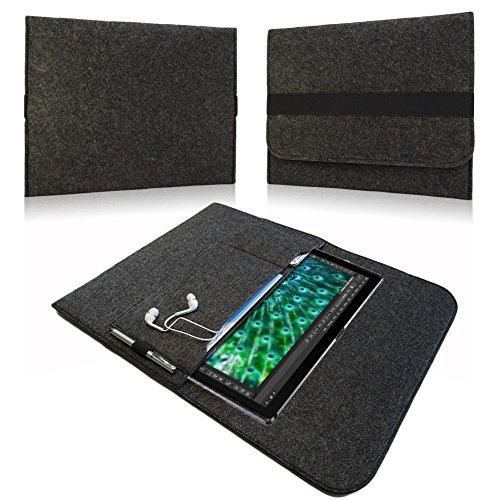 NAUC® Tasche Hülle für HANNSpad 133 Titan 13,3 Filz Sleeve Schutzhülle Tablet Case Cover Bag mit Innentaschen und sicheren Verschluss, Farben:Dunkel Grau