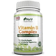 Vitamin B Complex - 8 vitamines par comprimé - Vitamines B1/B2/B3/B5/B6/B12/D-biotine/acide folique - cure de 6 mois/180 comprimés - Compléments alimentaires de Nu U Nutrition