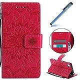 YSIMEE Compatibile Cover Sony Xperia X Performance,Custodie Flip Cover PU Pelle Libro Premium Portafoglio [Kickstand] [Slot per Schede] [Chiusura Magnetica] Caso Rosa rossa