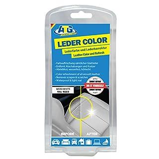 ATG ATG021 Leder-Color Lederfarbe inkl. Schwamm - beseitigt Kratzer, Abschürfungen und Abnutzungen auf Leder und Kunstleder bei jedem Autositz & jede Sitzbank – Farbe Weiss