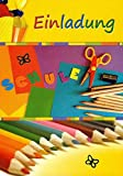 Einladungskarten Einschulung Junge Mädchen mit Innentext Motiv Stifte 10 Klappkarten DIN A6 im Hochformat mit weißen Umschlägen im Set Einladung Einschulung Kinder Einschulungskarten mit Kuvert K99