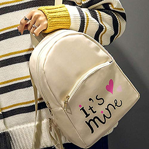 Bizarre Vogue Cute Medium It's Mine Printed Style Backpack College bag for Girls (Cream,BV1210) Image 2