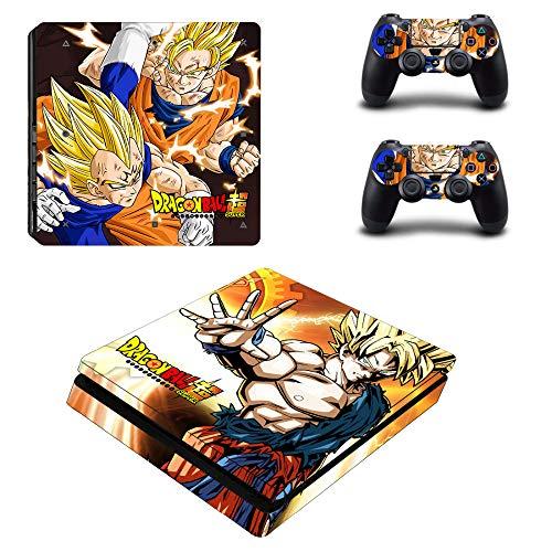SJYMKYC Vinile Adesivo Dragon Ball Goku PS4 per Playstation 4 Console E 2 Controller Skin per PS4 Slim