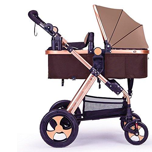 Kann liegen können gefaltete Kinderwagen, High-Profile-Kinderwagen, Dämpfung Auto, Neugeborene Kinderwagen ( Farbe : Braun ) (Neugeborenen-braun-oxford)