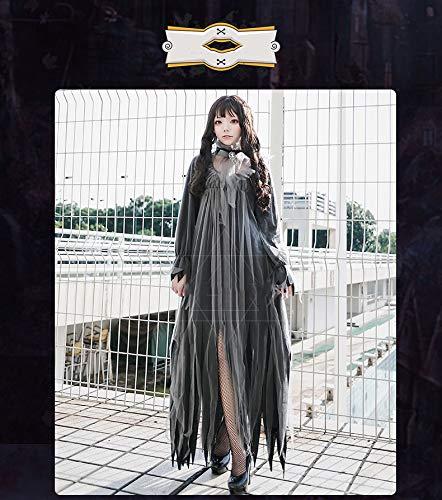 JACKII New Horror Ghost Bride Zombie Kostüm Vampire Queen Langer Rock Schwarzes Kleid Hexenshow Cosplay Kostüm,M (Promi Kostüm Vampir)