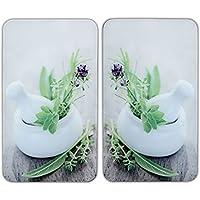 WENKO 2521420100 Protège-plaque universel Herbes - lot de 2, pour tous les types de cuisinières, Verre trempé, 30 x 52 cm, Multicolore