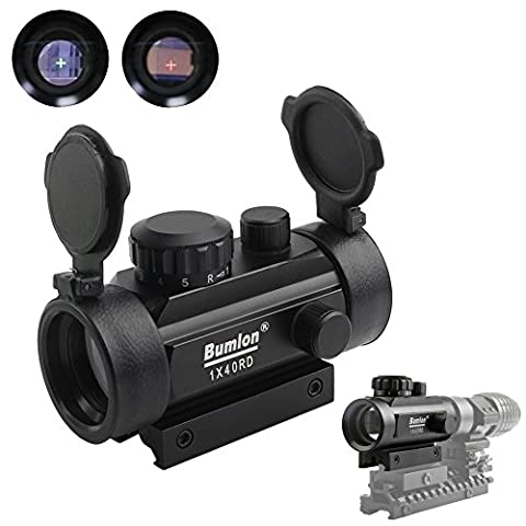 Red Green Dot Sight Rifle Scope Reflex Holographic Optics Tactical Fits 11mm/ 20mm Rail with Flip up Lens Cover for Airsoft