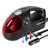 POTEK 12V DC Luftkompressor,Tragbare Auto reifenpumpe mit Licht und Manometer. 3 Ventiladapter, Auto Kompressor mit Zigarettenanzünder Für Auto Motorrad Fahrrad Basketball