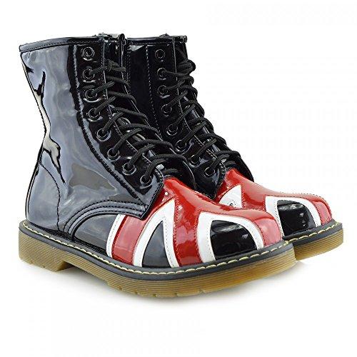 Kick scarpe da donna pizzo caviglia retro da bagagliaio da donna funky vintage fangbanger martin caviglia bagagliaio BLACK UK FLAG