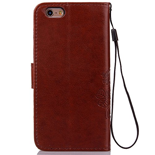 Sunroyal Lucky Klee Series Handyhülle iPhone 6 Plus iPhone 6S Plus 5.5 Zoll Hülle - Ledertasche im Wallet Case für Apple iPhone 6 Plus iPhone 6S Plus 5.5 Zoll Tasche Dünnes Smart Cover als Edles Zubeh Braun