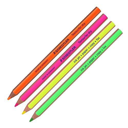 Staedtler Textsurfer dry Textmarker Bleistift 12864Zeichnen für Schreiben Skizzieren Inkjet, Papier, Copy, Fax (4Stück) (Farbe mix-4Bleistifte)