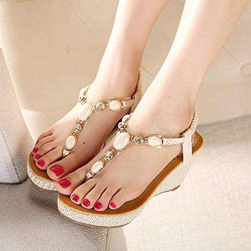 GTVERNH-beige - le pantofole donna summer e tacchi alti spesso in pendenza e sandali spiagge di sabbia sulla spiaggia,trentotto Thirty-nine