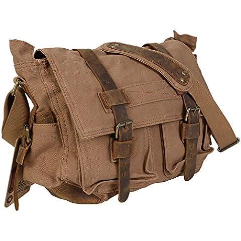 ESYN gli uomini sono in pelle tela epoca croce corpo scuola cartella della spalla militare messenger bag
