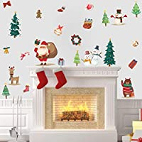 BUCKOO Watercolor Color Christmas Wall Sticker, Santa Claus Snowman Living Room Decal, Holiday Decor Stiicker