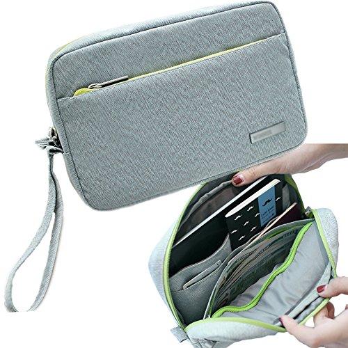 isuperbr-document-wallet-card-holder-passport-organizer-ipad-bag-gray-waterproof-roomy-passport-case