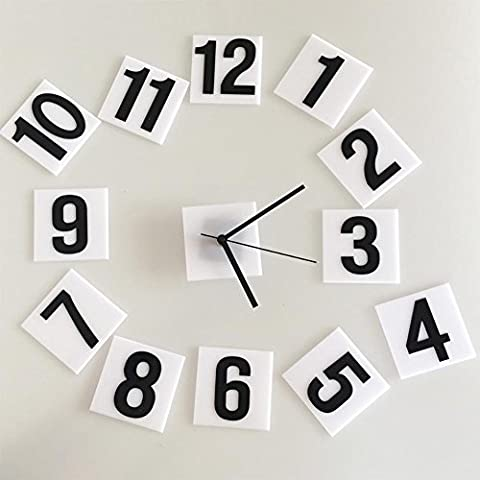Wall Clock 3D DIY Wall Sticker Black and White Numbers