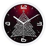 G. Medalis Modern Quartz Lautlos Wanduhr Schleichende Sekunde Ohne Ticken mit lautlosem Uhrwerk Weihnachtsbaum aus Metall Wanduhr 12 Zoll, Ein